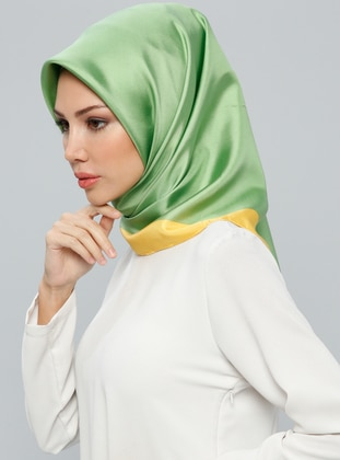 Green – Yellow – Plain – %100 Silk – Scarf – Tekbir Esarp