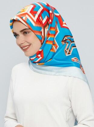Blue – Printed – %100 Silk – Scarf – Tekbir Esarp