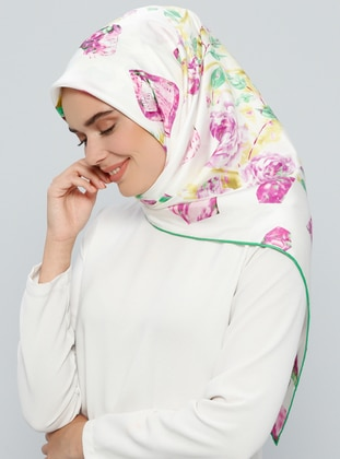 Green – White – Printed – %100 Silk – Scarf – Tekbir Esarp