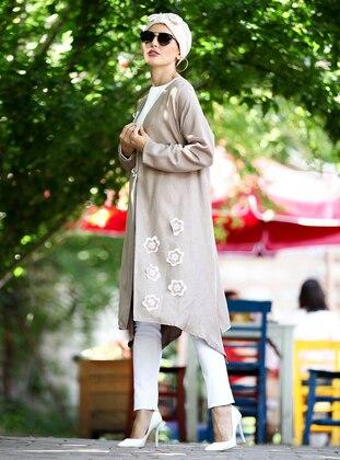 Cream - Floral - Unlined - V neck Collar - Jacket