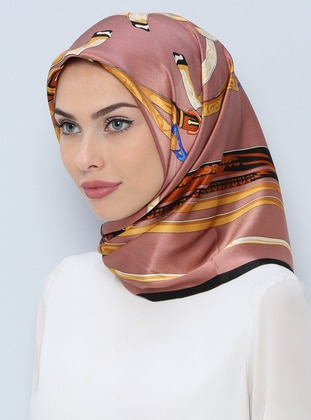Dusty Rose – Printed – %100 Silk – Scarf – Tekbir Esarp