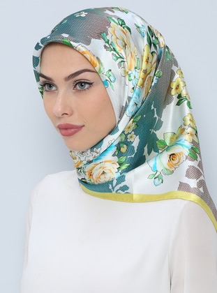 Green – Printed – %100 Silk – Scarf – Tekbir Esarp