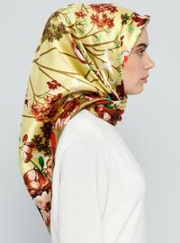 Green - Printed - %100 Silk - Scarf
