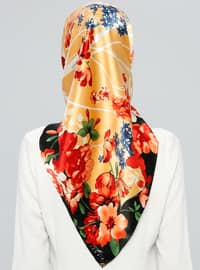 Black - Orange - Printed - %100 Silk - Scarf