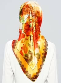 Orange - Printed - %100 Silk - Scarf