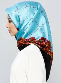 Blue - Printed - %100 Silk - Scarf