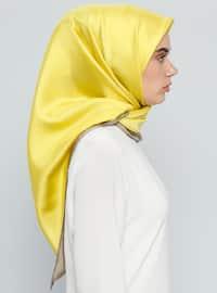 Yellow - Printed - %100 Silk - Scarf