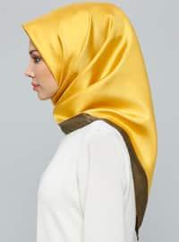 Khaki - Golden tone - Plain - %100 Silk - Scarf