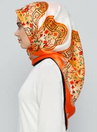White - Orange - Printed - %100 Silk - Scarf