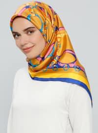 Camel - Printed - %100 Silk - Scarf