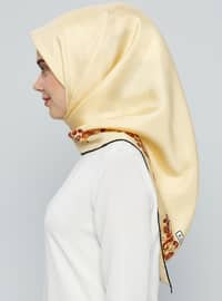 Yellow - Printed - %100 Silk - Scarf