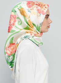 White - Emerald - Printed - %100 Silk - Scarf