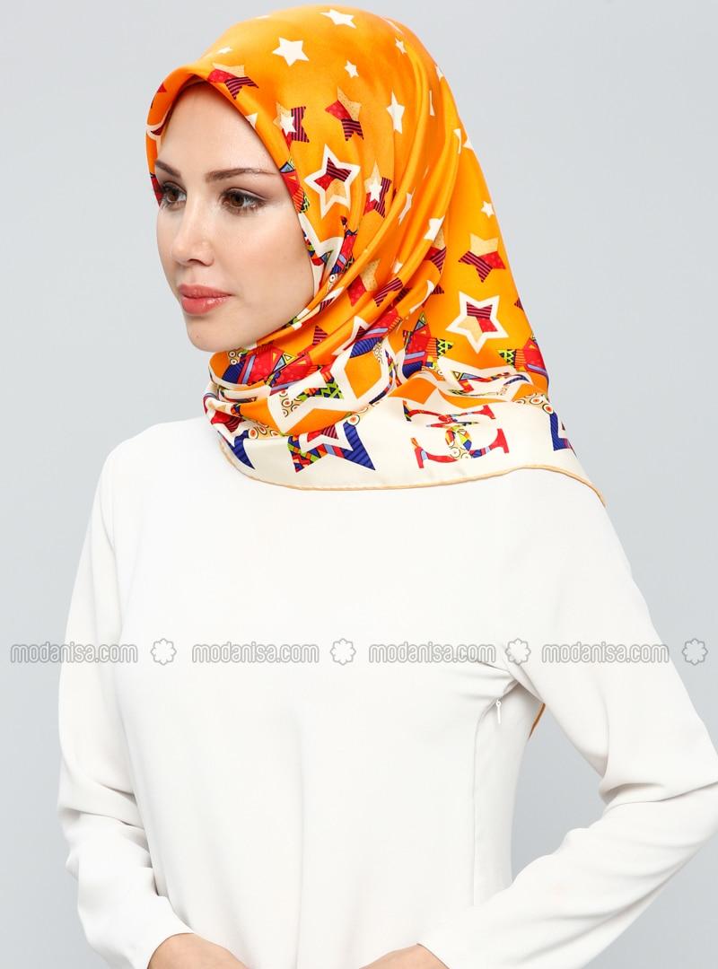 Orange - Printed - %100 Silk - Scarf