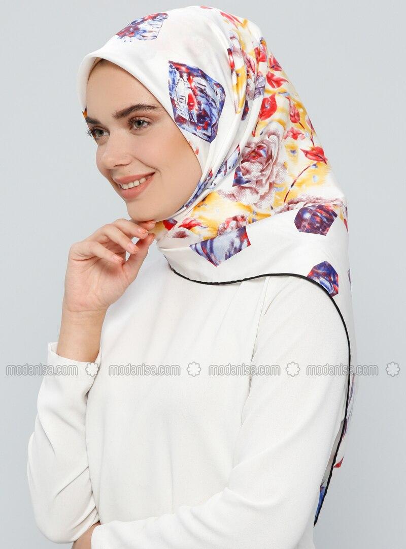 White - Printed - %100 Silk - Scarf