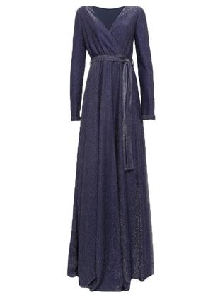 Navy Blue - Fully Lined - V neck Collar - Muslim Evening Dress - Pierre Cardin