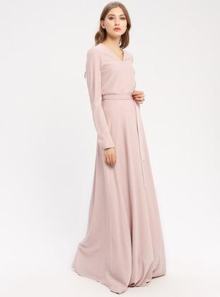 Powder - Fully Lined - V neck Collar - Muslim Evening Dress - Pierre Cardin