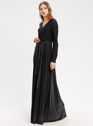 Black - Fully Lined - V neck Collar - Muslim Evening Dress - Pierre Cardin