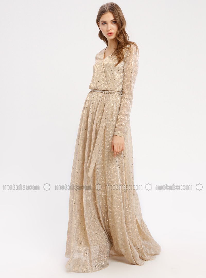 a52ac8314b8f6 Golden tone - Fully Lined - V neck Collar - Muslim Evening Dress ...