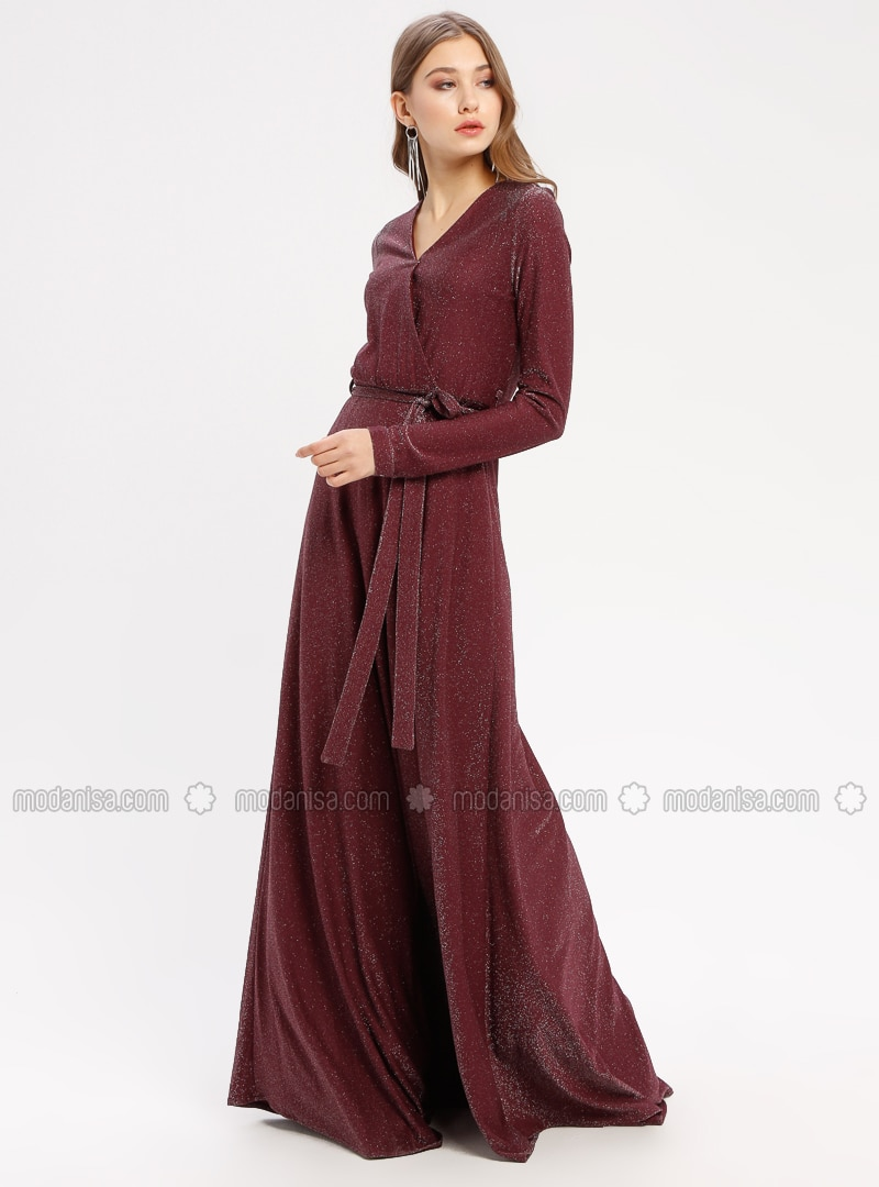 Purple - Fully Lined - V neck Collar - Muslim Evening Dress - Pierre Cardin