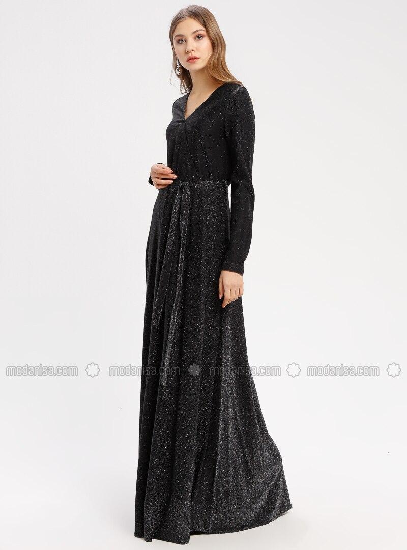 ab5a05fb93bf1 Simli Abiye Elbise - Siyah