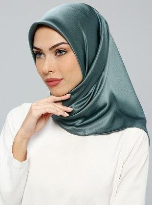 Green - Plain - %100 Silk - Satin - Crepe - Scarf