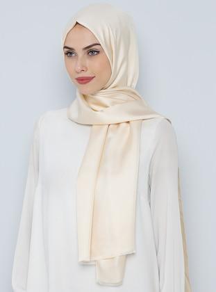 Cream - Plain - %100 Silk - Shawl