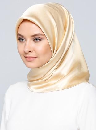 Cream - Plain - %100 Silk - Satin - Crepe - Scarf