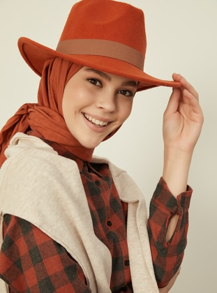 Brick Red - Plain - Cotton - Shawl - Şal