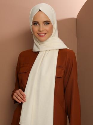 Cream - Plain - Cotton - Shawl - Şal