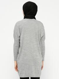 Gray - Multi - Crew neck - Wool Blend - Tunic