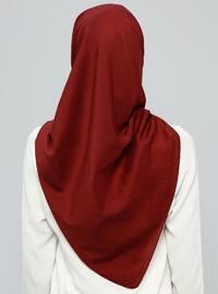 Maroon - Plain - %100 Silk - Wool Blend - Scarf