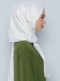 White - Plain - %100 Silk - Shawl
