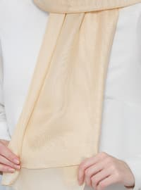 Cream - Plain - %100 Silk - Shawl