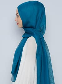 Petrol - Plain - %100 Silk - Shawl