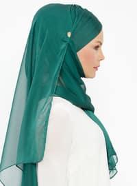 Green - Plain - Pinless - Silk Blend - Instant Scarf