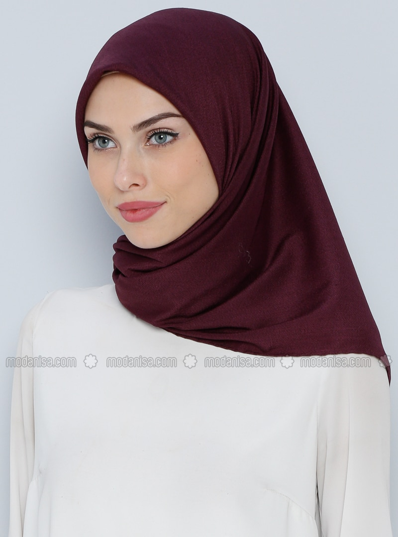 Plum - Plain - %100 Silk - Wool Blend - Scarf