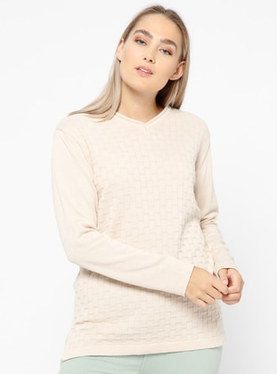 Beige – Crew Neck – Plus Size Jumper – Novinza