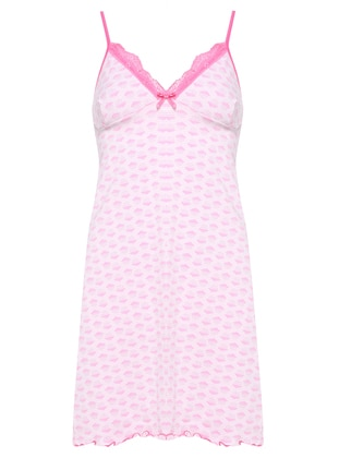 Pink - Gray - Multi - V neck Collar - Nightdress