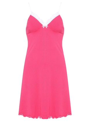 Fuchsia - Multi - V neck Collar - Nightdress