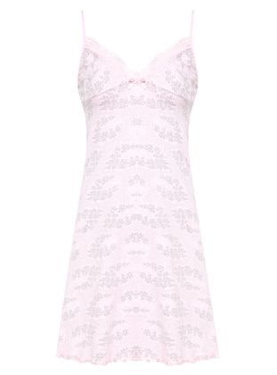 Pink - Gray - Multi - V neck Collar - Nightdress