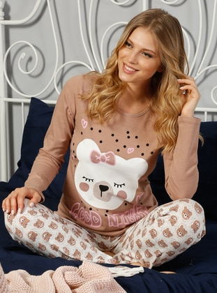 Pamuklu Likralı Pijama Takımı - Kahverengi - Elitol Ürün Resmi