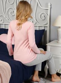 Pink - Crew neck - Multi - Pyjama -  Pijama - Yeni