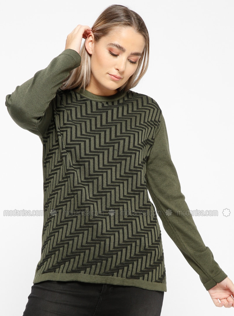 Khaki - Crew neck - Plus Size Jumper