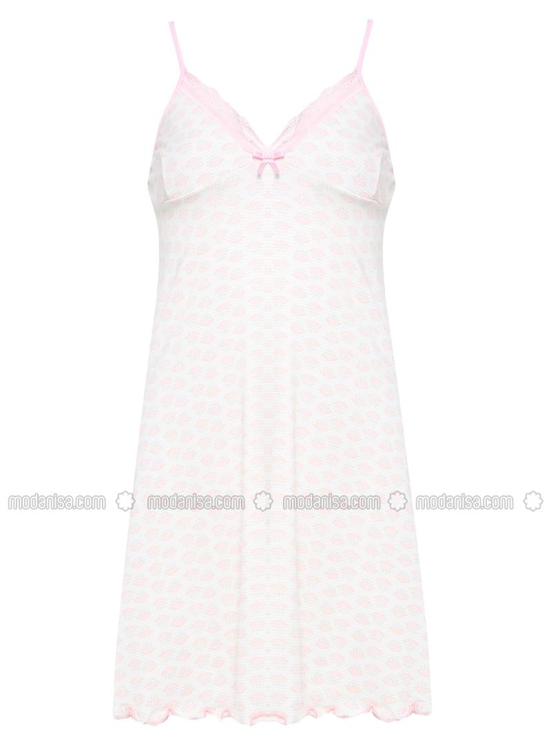 Ecru - Salmon - Multi - V neck Collar - Nightdress