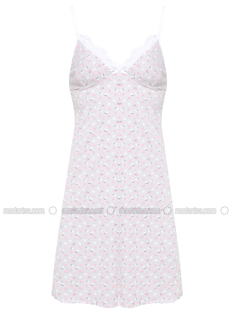 Gray - Multi - V neck Collar - Nightdress