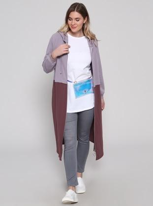 Purple - Unlined - Cotton - Plus Size Coat