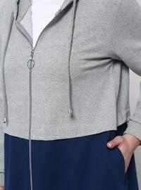 Navy Blue - Gray - Unlined - Cotton - Plus Size Coat