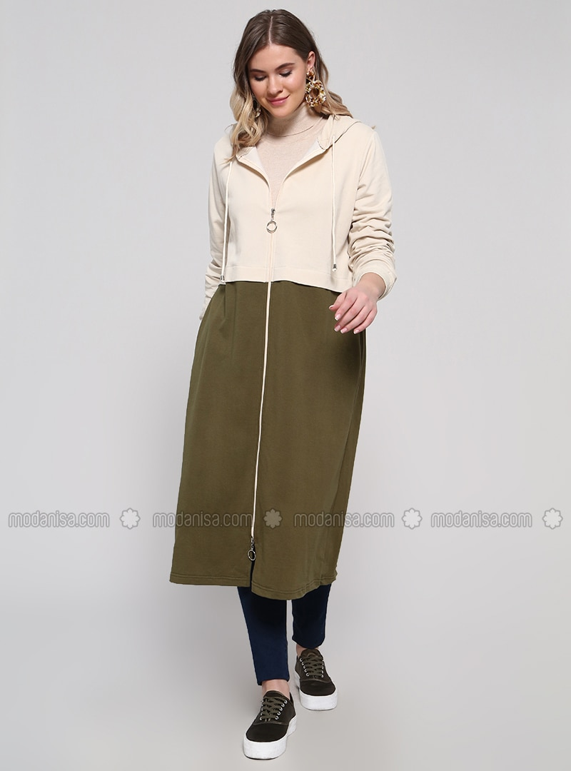 Khaki - Unlined - Cotton - Plus Size Coat