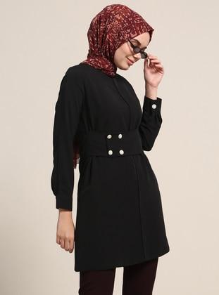 Düğme Detaylı Tunik - Siyah - Refka Ürün Resmi