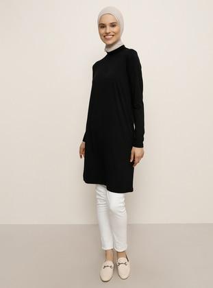 Black - Polo neck - Viscose - Tunic
